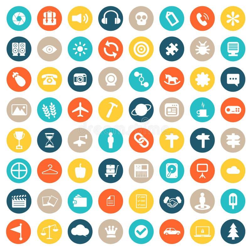 Grupo do ícone do App Ícones para Web site e aplicações móveis Vetor liso ilustração do vetor