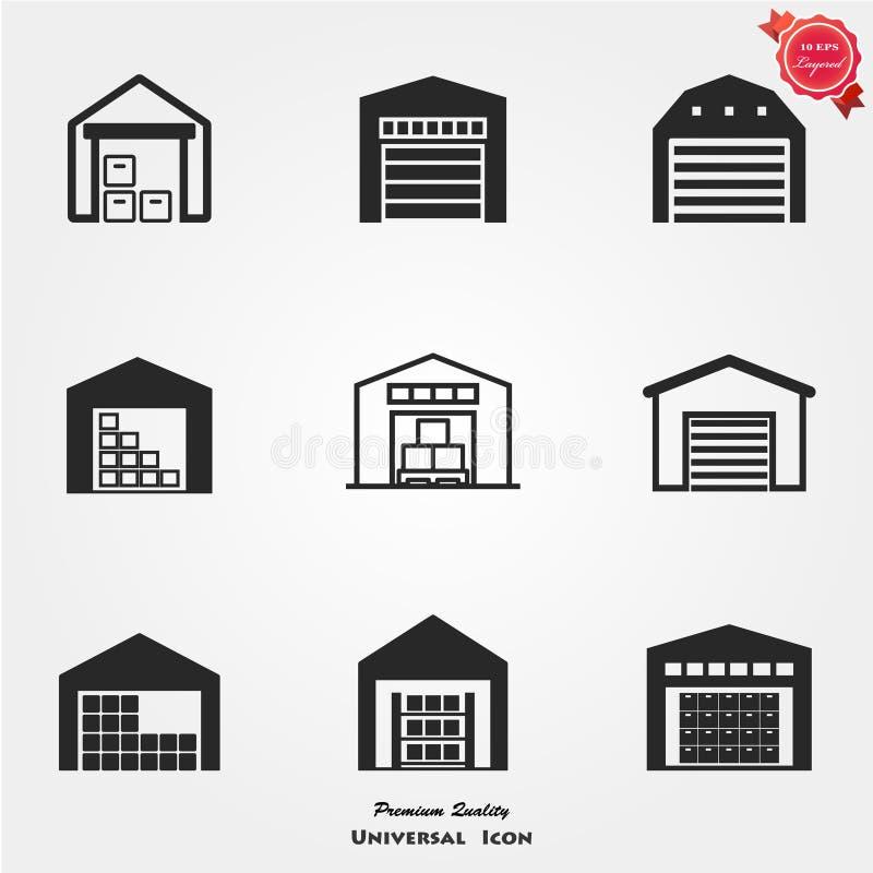 Grupo do ícone do armazém ilustração stock