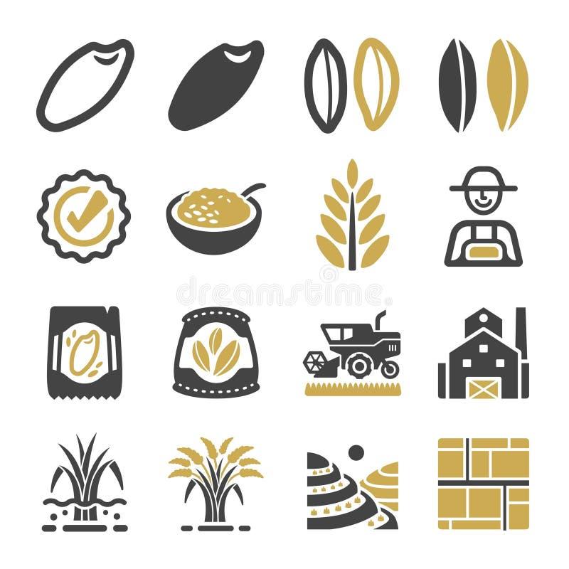 Grupo do ícone do arroz ilustração stock