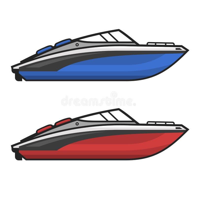 Grupo do ícone do barco da velocidade do motor Vetor ilustração stock