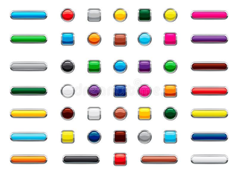 Grupo do ícone do botão da Web, estilo dos desenhos animados ilustração do vetor