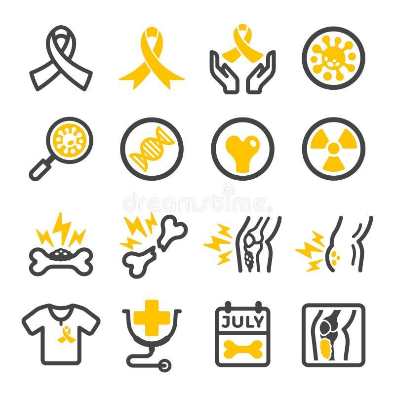 Grupo do ícone do câncer de osso ilustração royalty free