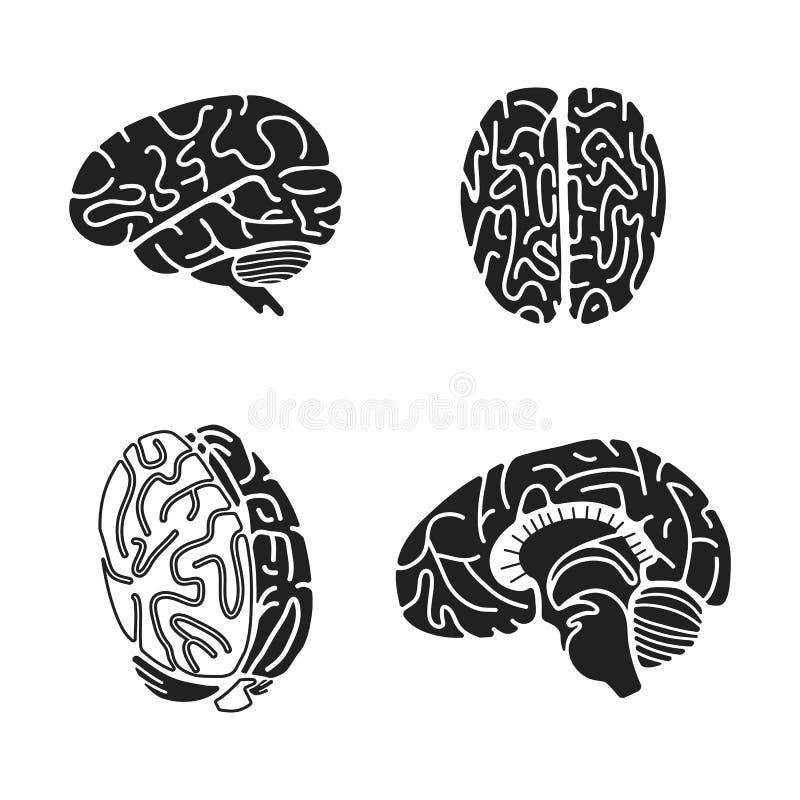 Grupo do ícone do cérebro, estilo simples ilustração royalty free