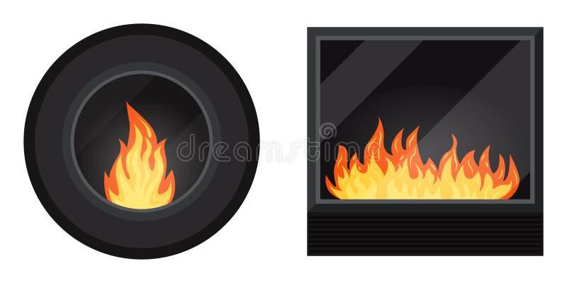 Grupo do ícone: círculo e chaminé fireburning acolhedor moderna preta quadrada elétrica ou do gás ilustração royalty free