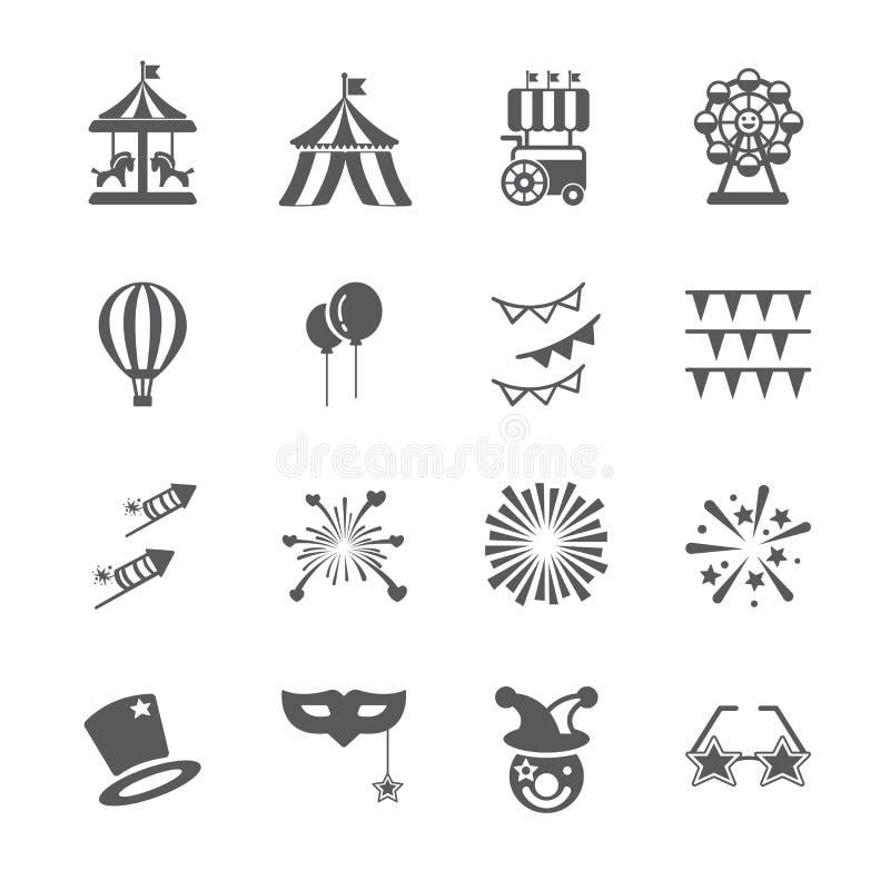 Grupo do ícone do carnaval ilustração do vetor