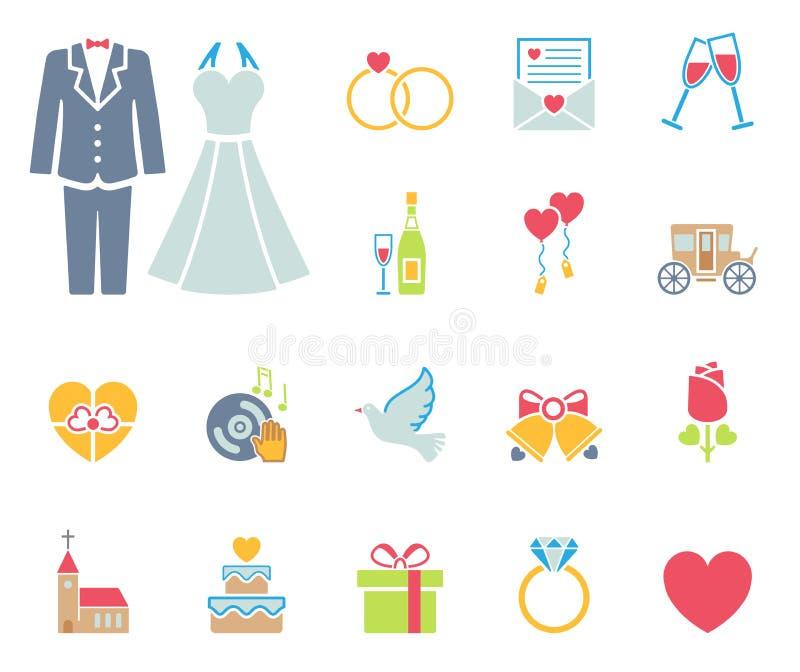 Grupo do ícone do casamento e do amor ilustração stock