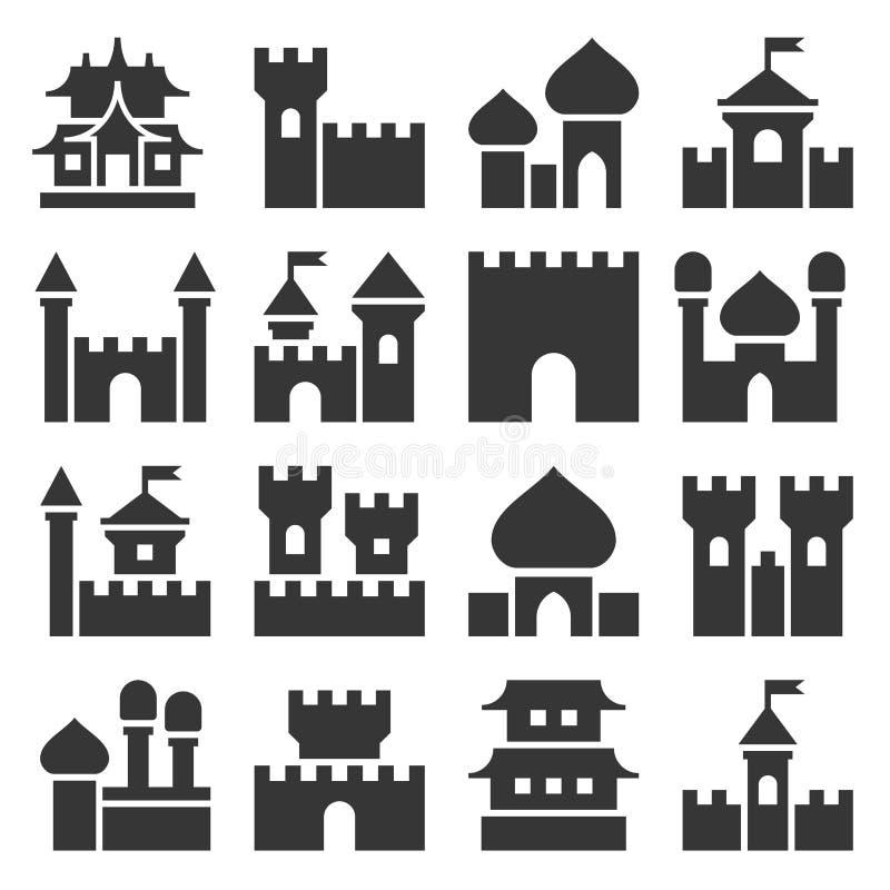 Grupo do ícone do castelo ilustração do vetor