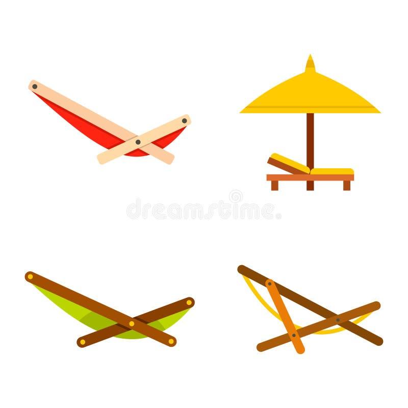 Grupo do ícone do Chaise, estilo liso ilustração stock