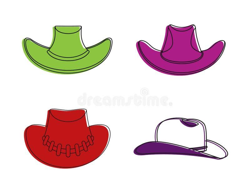 Grupo do ícone do chapéu de vaqueiro, estilo do esboço da cor ilustração stock