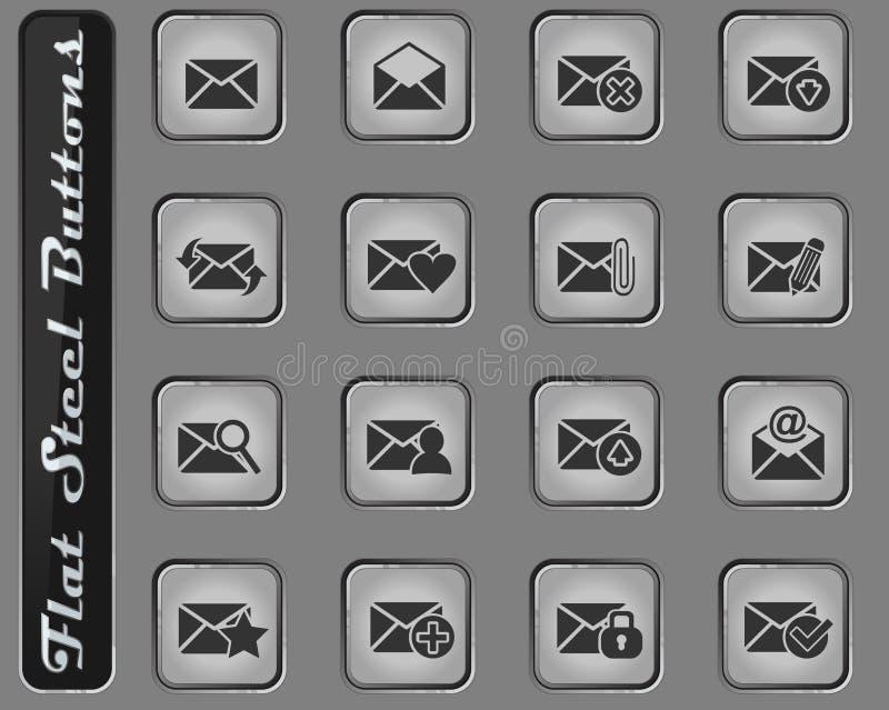 Grupo do ícone do correio e do envelope ilustração stock
