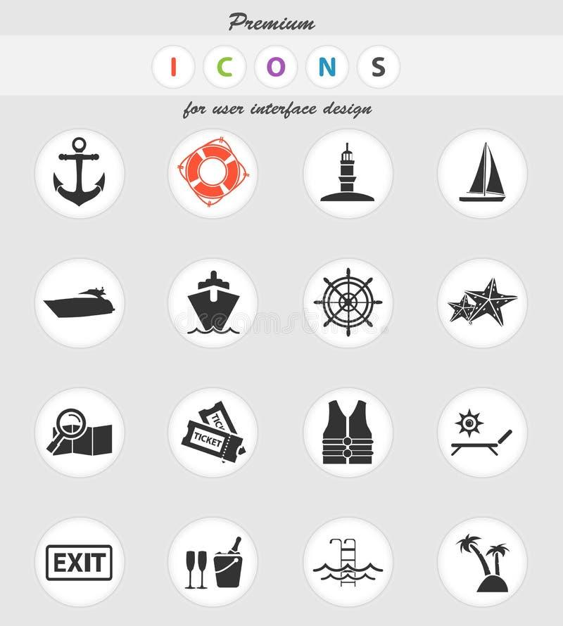 Grupo do ícone do cruzeiro ilustração stock