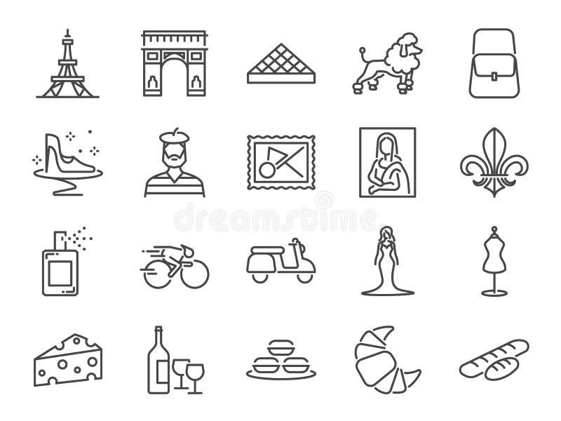 Grupo do ícone do curso de França Incluiu os ícones como rabanada, marcos, a torre Eiffel, baguettes, forma de Paris, marca, Poo ilustração stock