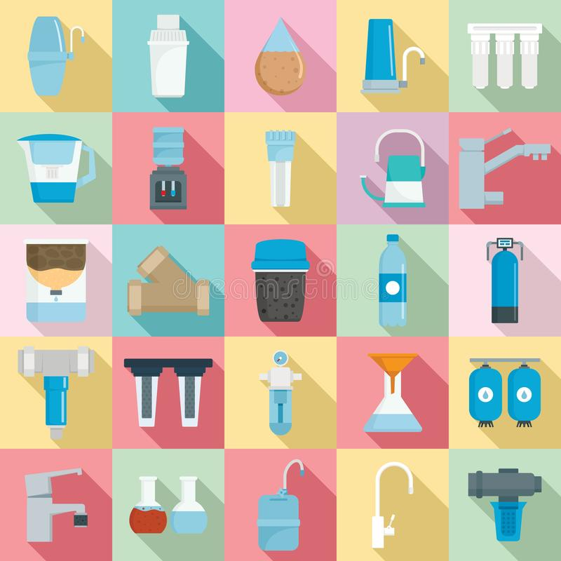 Grupo do ícone da água do filtro, estilo liso ilustração royalty free