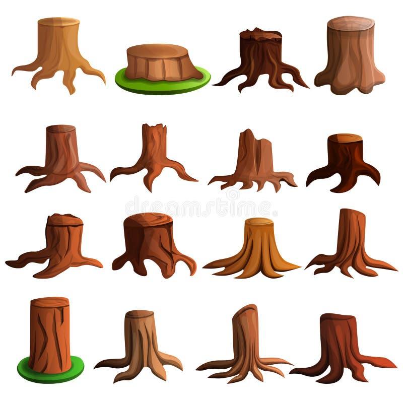 Grupo do ícone da árvore do coto, estilo dos desenhos animados ilustração royalty free
