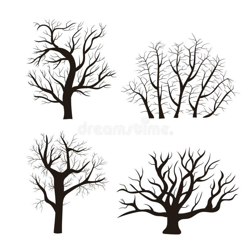 Grupo do ícone da árvore do preto da silhueta dos desenhos animados Vetor ilustração do vetor