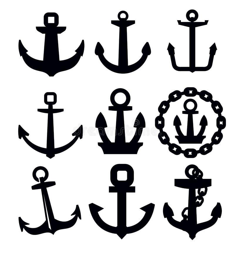 Grupo do ícone da âncora ilustração stock