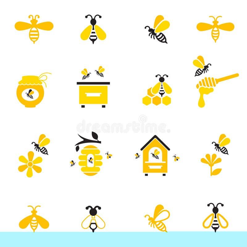 Grupo do ícone da abelha e do mel ilustração do vetor