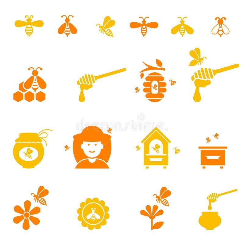 Grupo do ícone da abelha e do mel Natural orgânico ilustração royalty free