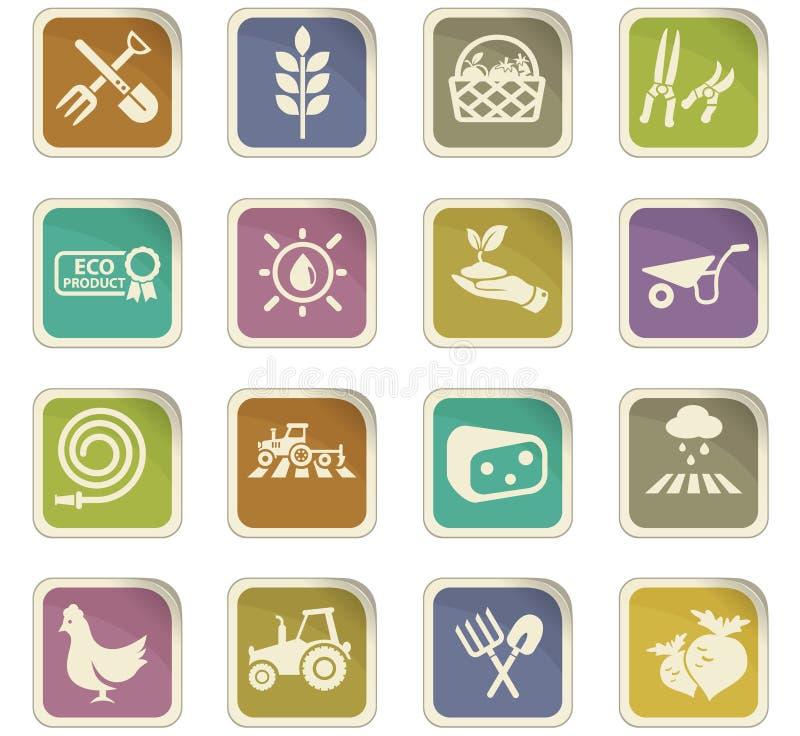 Grupo do ícone da agricultura ilustração stock