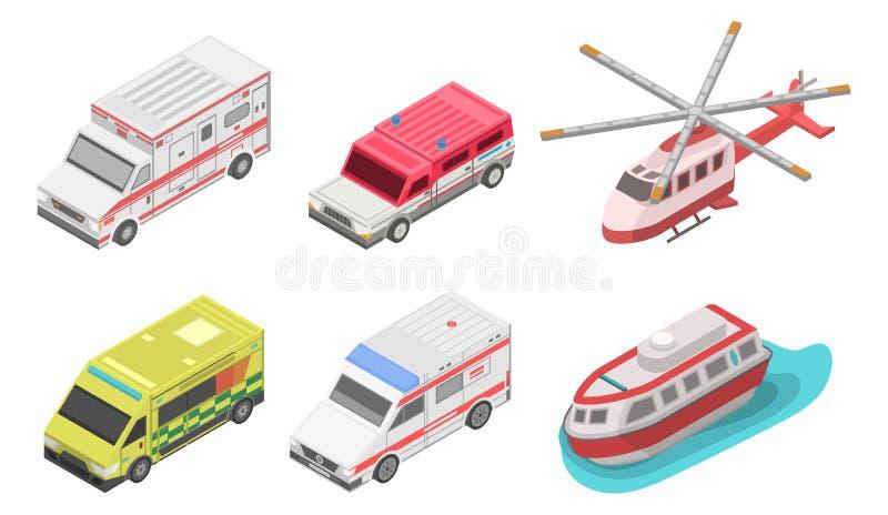 Grupo do ícone da ambulância, estilo isométrico ilustração stock