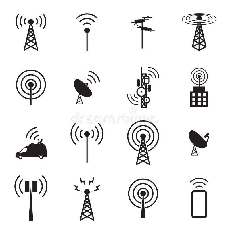 Grupo do ícone da antena ilustração stock