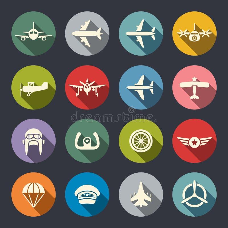 Grupo do ícone da aviação ilustração stock