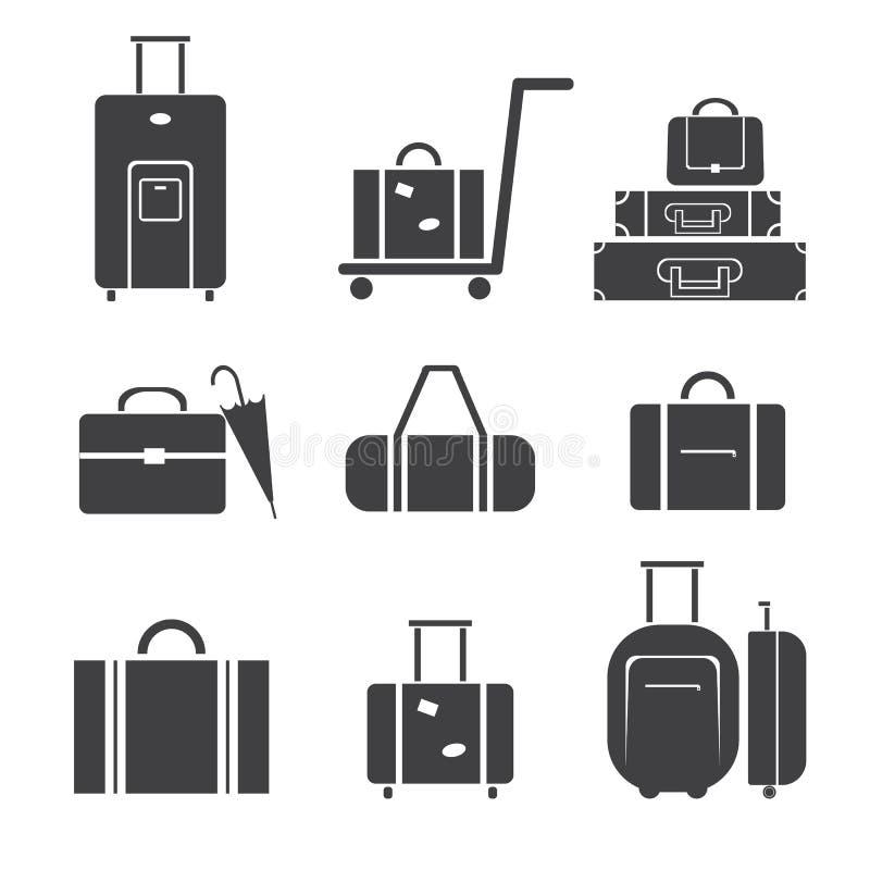 Grupo do ícone da bagagem foto de stock royalty free