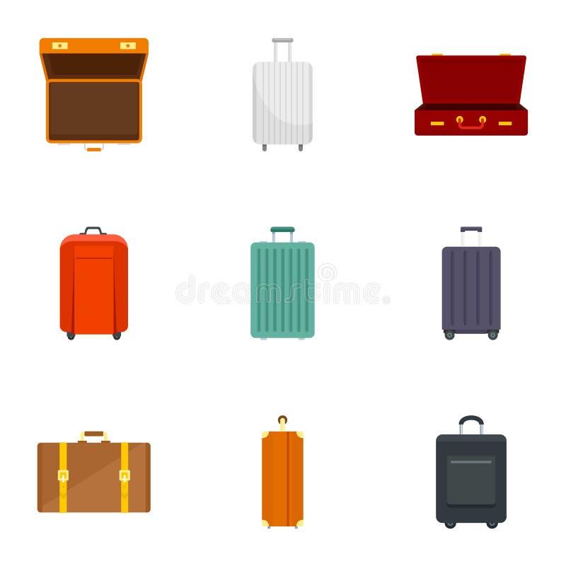 Grupo do ícone da bagagem, estilo liso ilustração royalty free