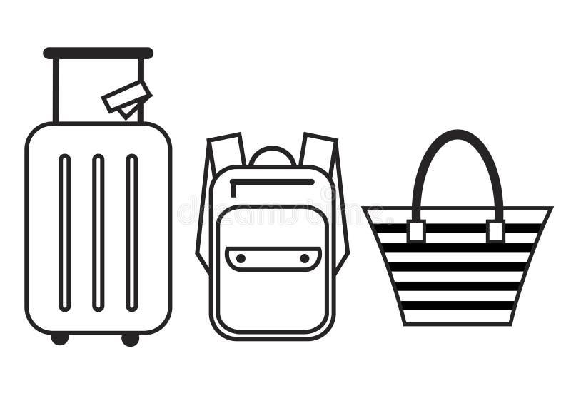 Grupo do ícone da bagagem Trouxa, bolsa e mala de viagem Ilustração isolada vetor dos ícones para o curso ilustração stock