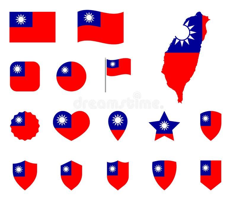 Grupo do ícone da bandeira de Taiwan, bandeira dos símbolos da República da China ilustração do vetor