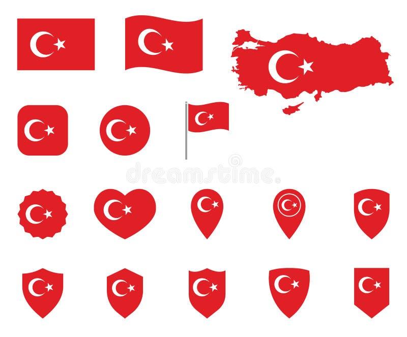 Grupo do ícone da bandeira de Turquia, bandeira dos símbolos de República da Turquia ilustração stock