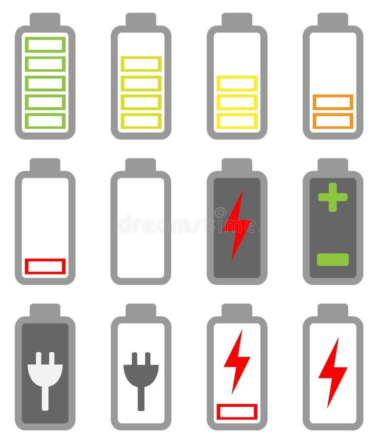 Grupo do ícone da bateria ilustração stock