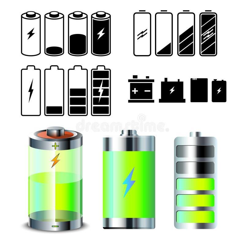 Grupo do ícone da bateria ilustração do vetor