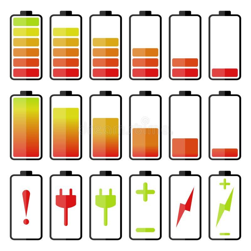 Grupo do ícone da bateria imagens de stock