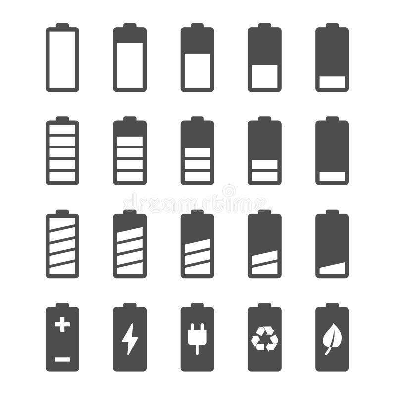Grupo do ícone da bateria com os indicadores de nível da carga fotos de stock