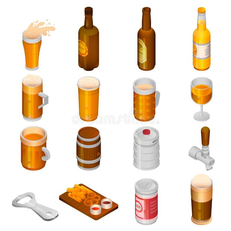 Grupo do ícone da bebida da cerveja, estilo isométrico ilustração stock