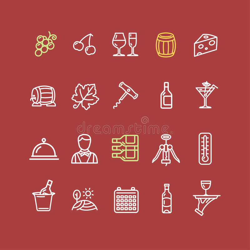 Grupo do ícone da bebida da fatura de vinho Vetor ilustração royalty free