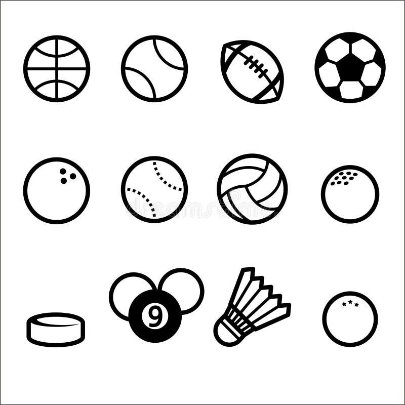 Grupo do ícone da bola dos esportes, linha estilo ilustração stock