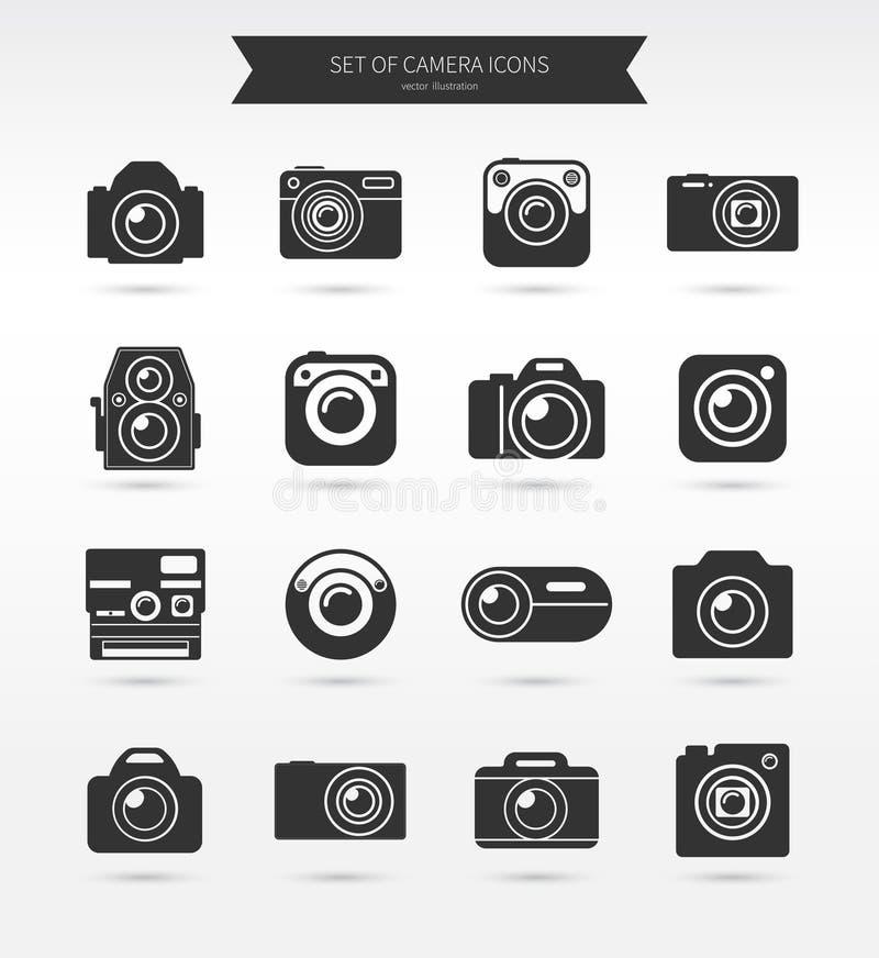 Grupo do ícone da câmera da foto ilustração do vetor