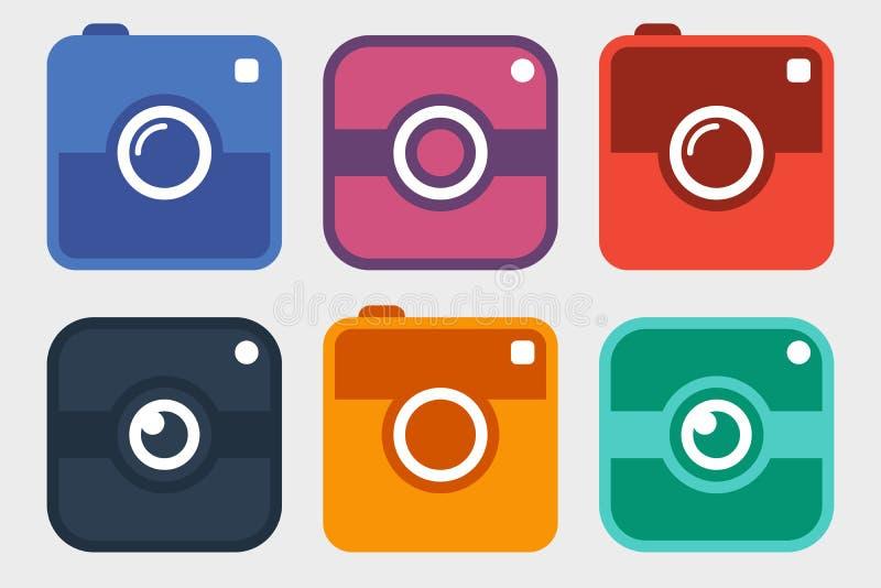 Grupo do ícone da câmera da foto do moderno ilustração royalty free