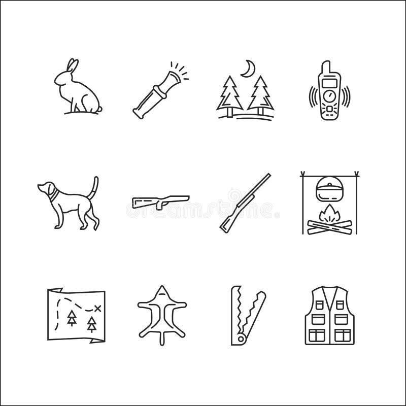 Grupo do ícone da caça ilustração royalty free