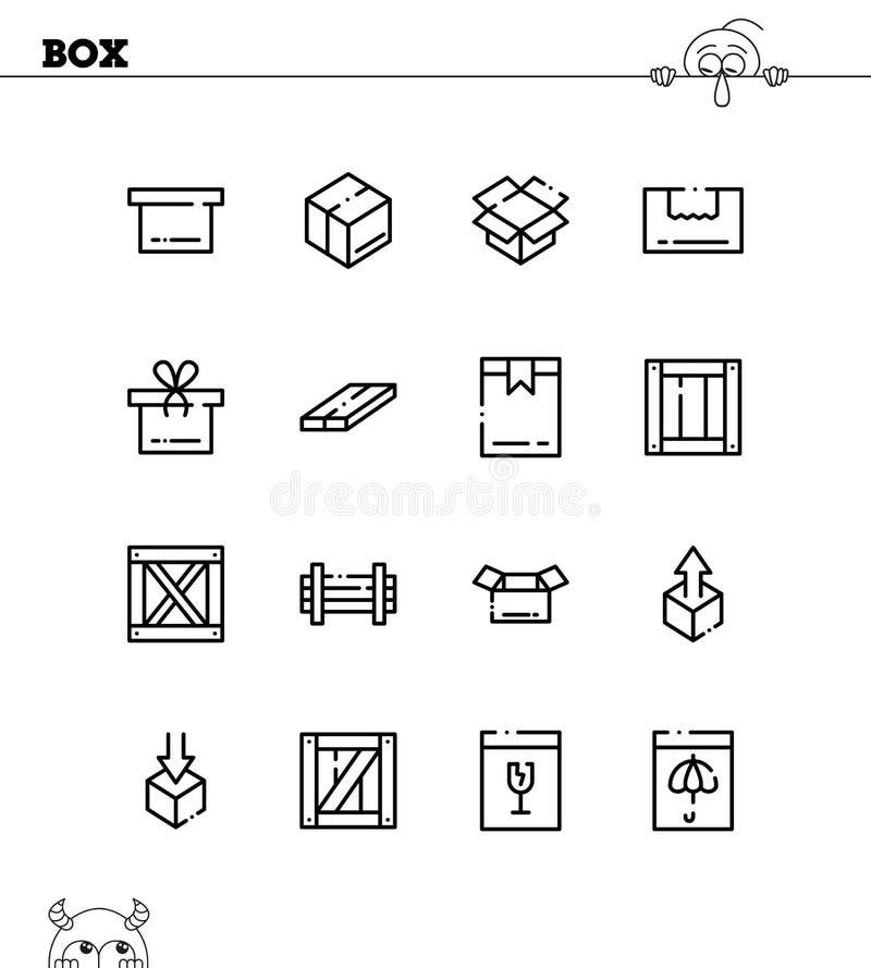 Grupo do ícone da caixa ilustração royalty free