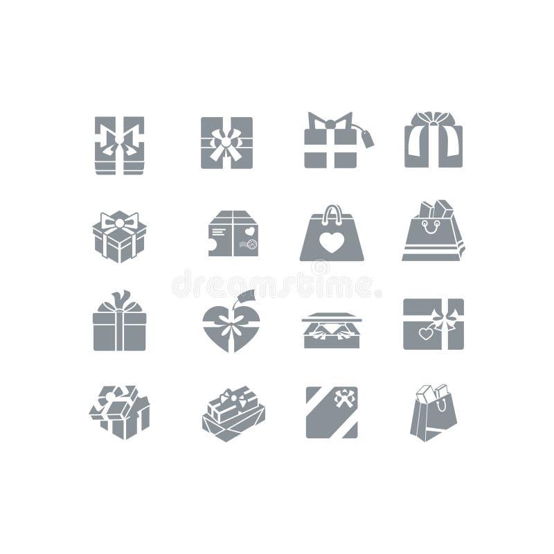 Grupo do ícone da caixa de presente ilustração do vetor