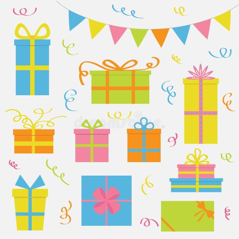 Grupo do ícone da caixa de presente Confetes de papel da fita das bandeiras do triângulo Bandeira colorida que pendura na corda C ilustração royalty free