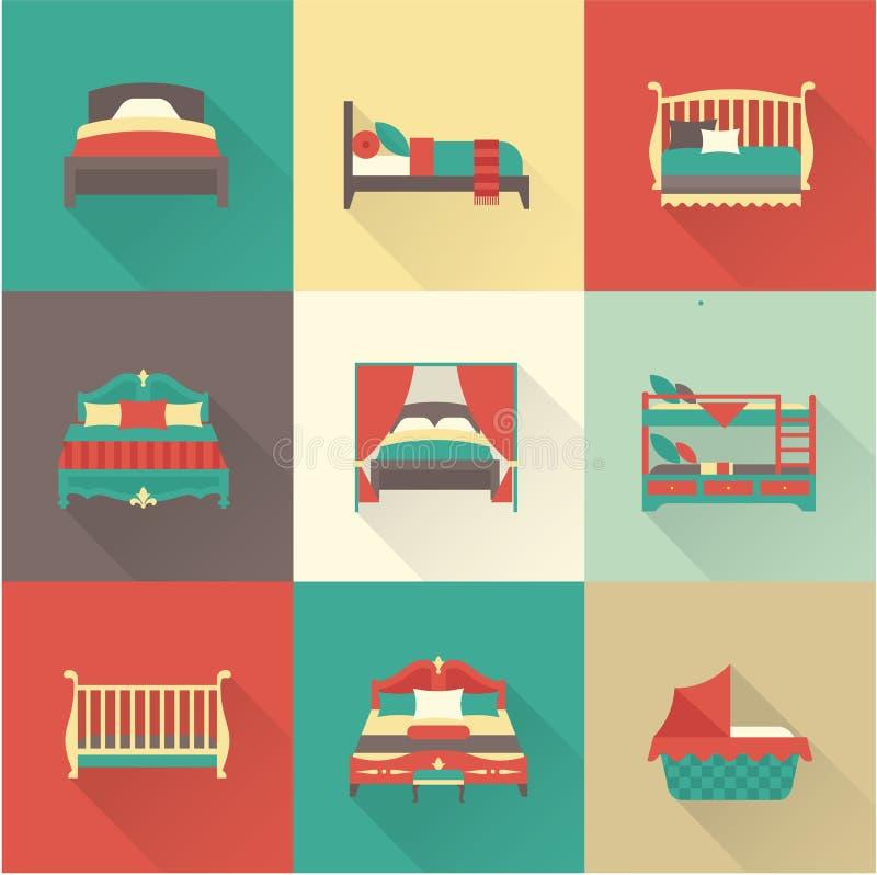 Grupo do ícone da cama do vetor ilustração do vetor
