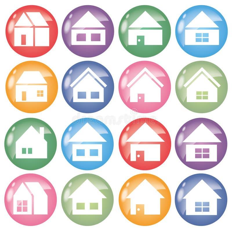 Grupo do ícone 16 da casa - cor em volta da forma ilustração do vetor