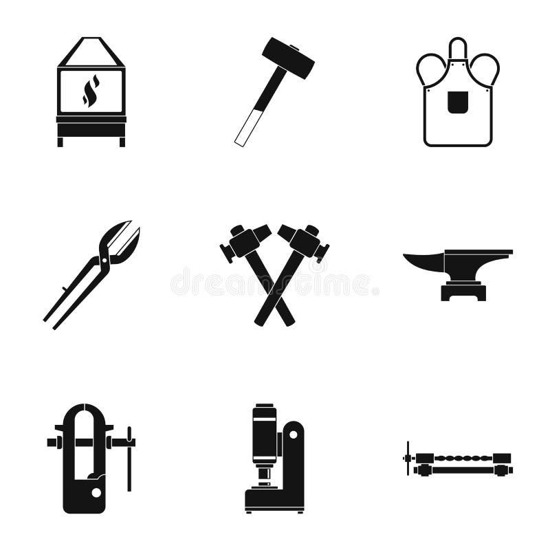Grupo do ícone da casa do ferreiro, estilo simples ilustração do vetor