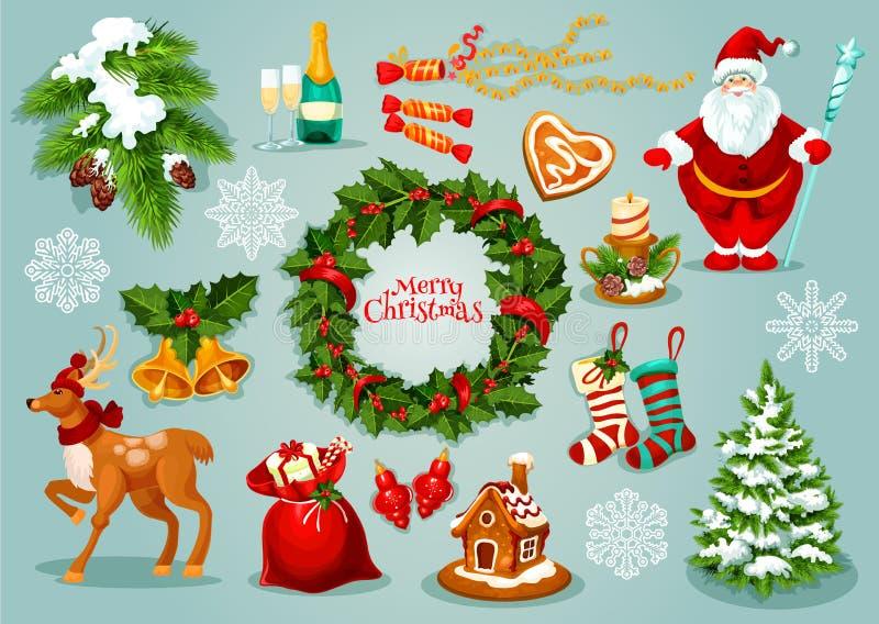 Grupo do ícone da celebração dos feriados do dia de Natal ilustração do vetor