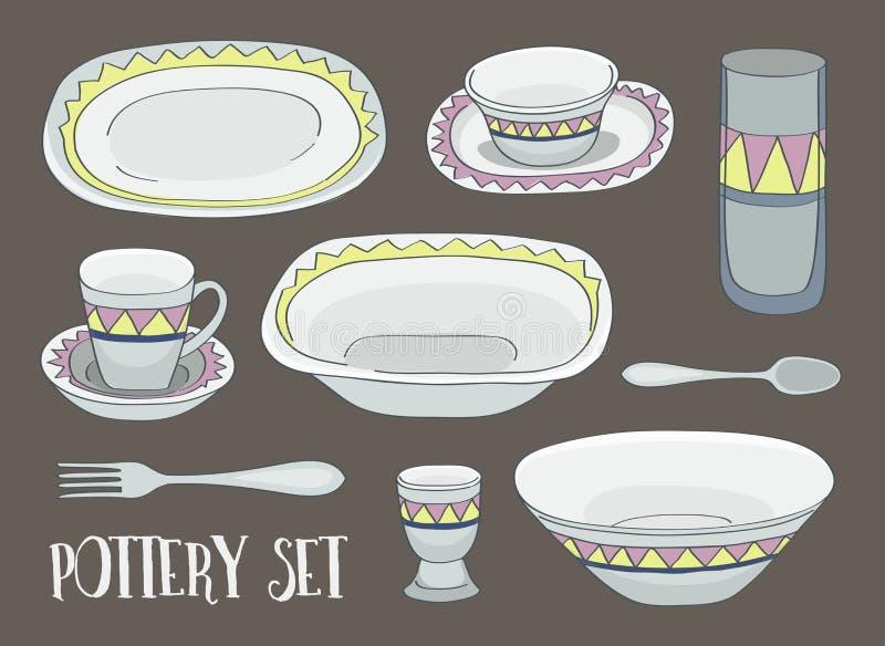 Grupo do ícone da cerâmica ilustração do vetor