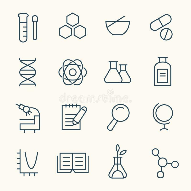 Grupo do ícone da ciência ilustração do vetor